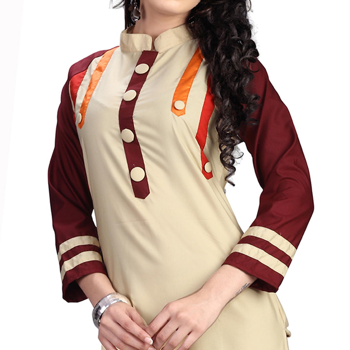 Beige Colored Casual Cotton Kurti