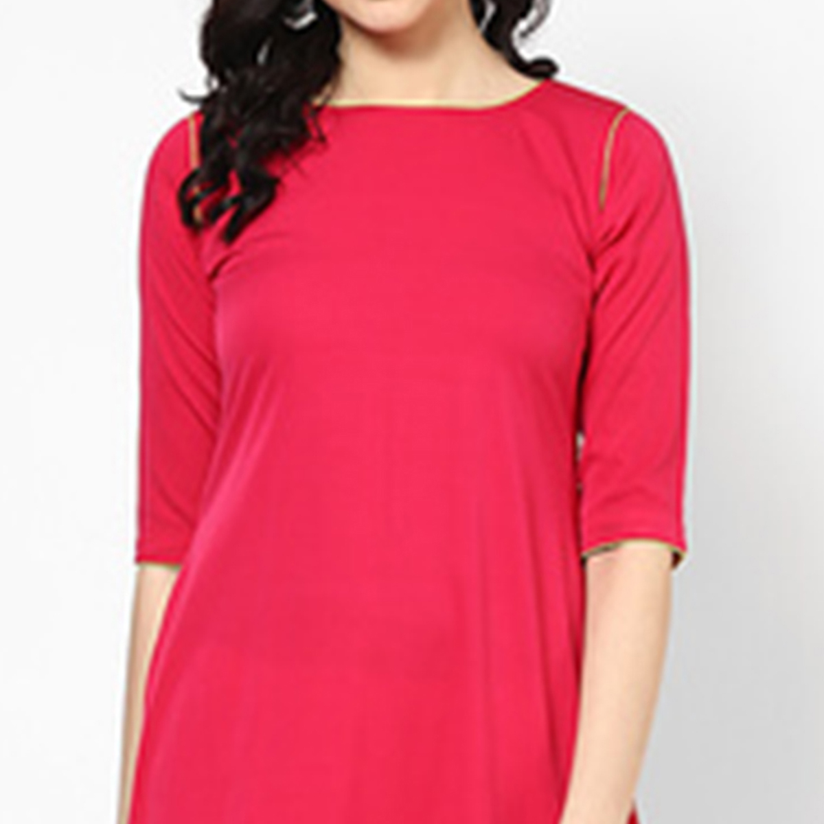 Fuschia Pink Colored Casual Cotton Kurti