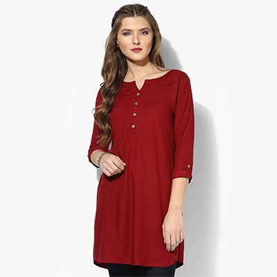 Maroon Colored Casual Rayon Short Kurti