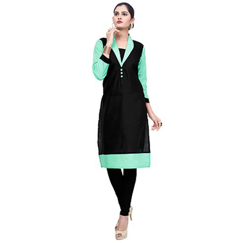 Black-Green Colored Casual Cotton Kurti