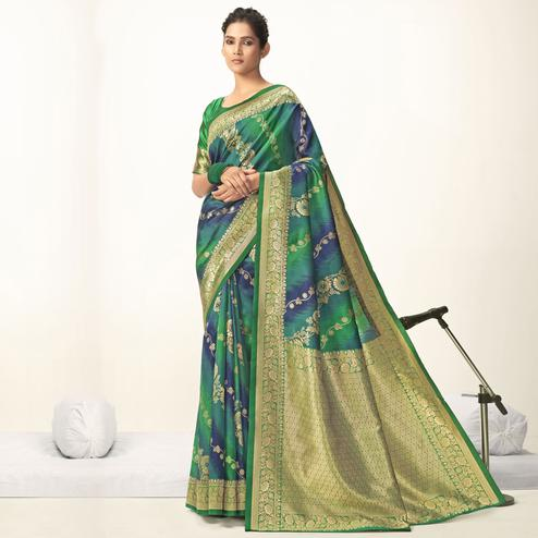 Triveni - Teal & Green Color Jacquard Silk Party Wear Saree With Blouse Piece