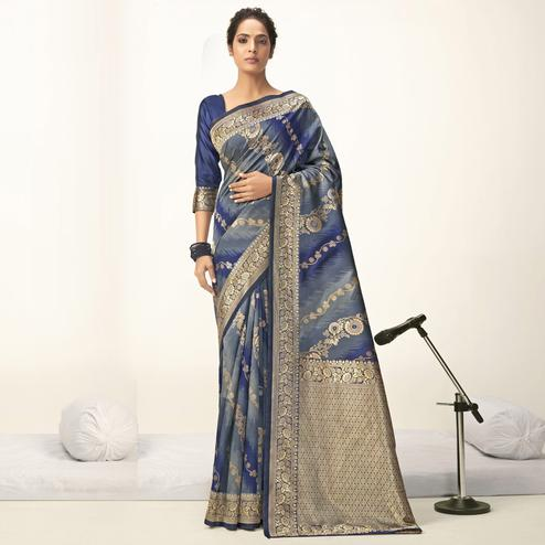 Triveni - Grey & Blue Color Jacquard Silk Party Wear Saree With Blouse Piece