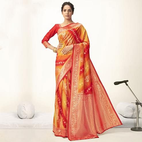 Triveni - Orange & Red Color Jacquard Silk Party Wear Saree With Blouse Piece
