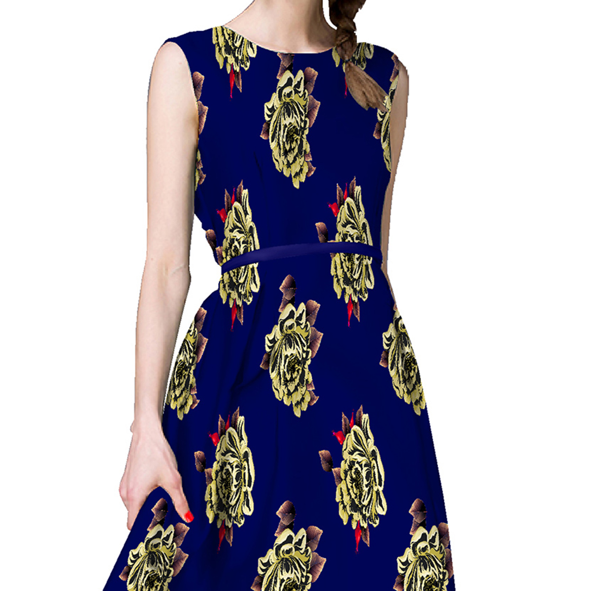 Dark Blue Japan Satin Printed Dress