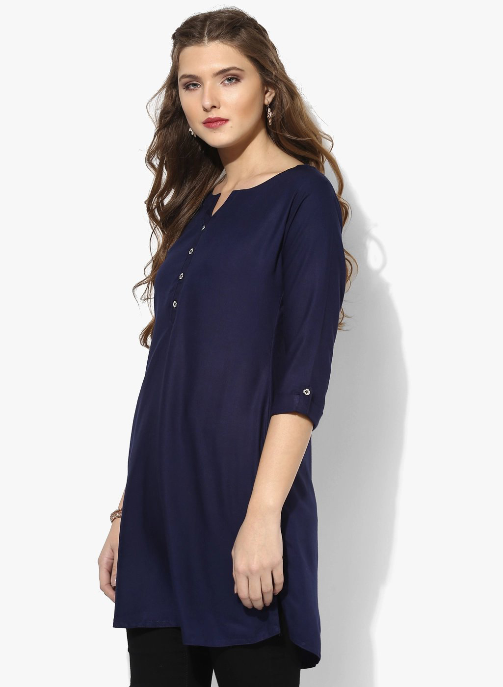 Navy Blue Colored Casual Short Kurti