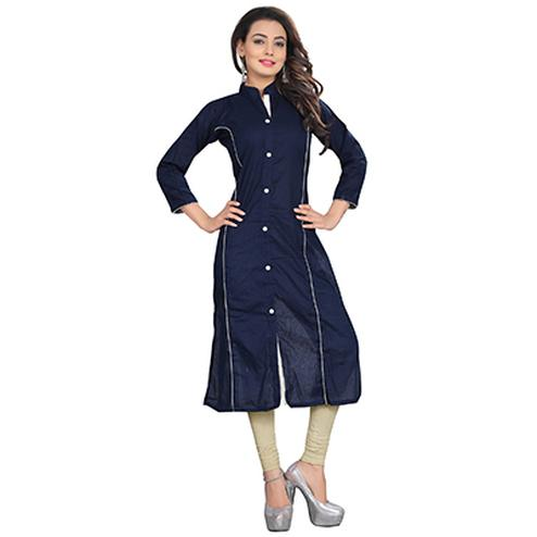 Navy Blue Colored Casual Cotton Kurti