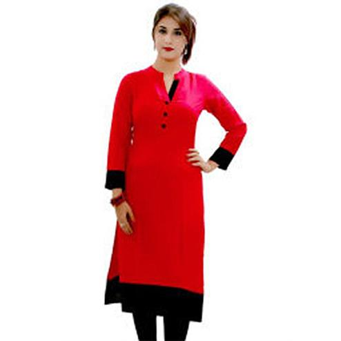 Red Colored Casual Cotton Kurti