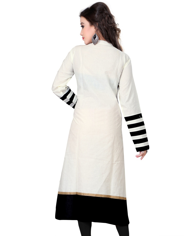 White Colored Casual Cotton Kurti