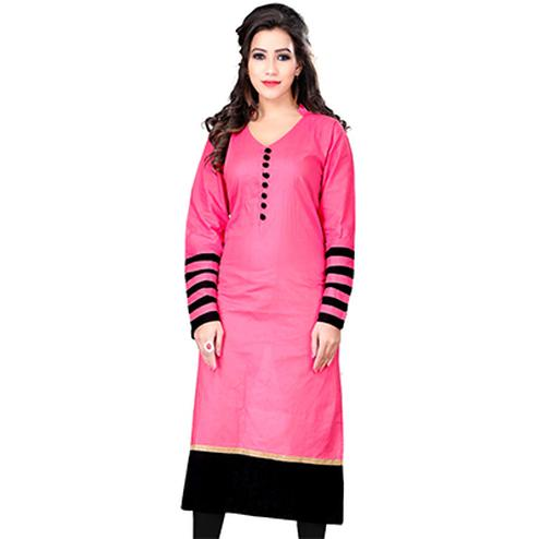 Pink Colored Casual Cotton Kurti