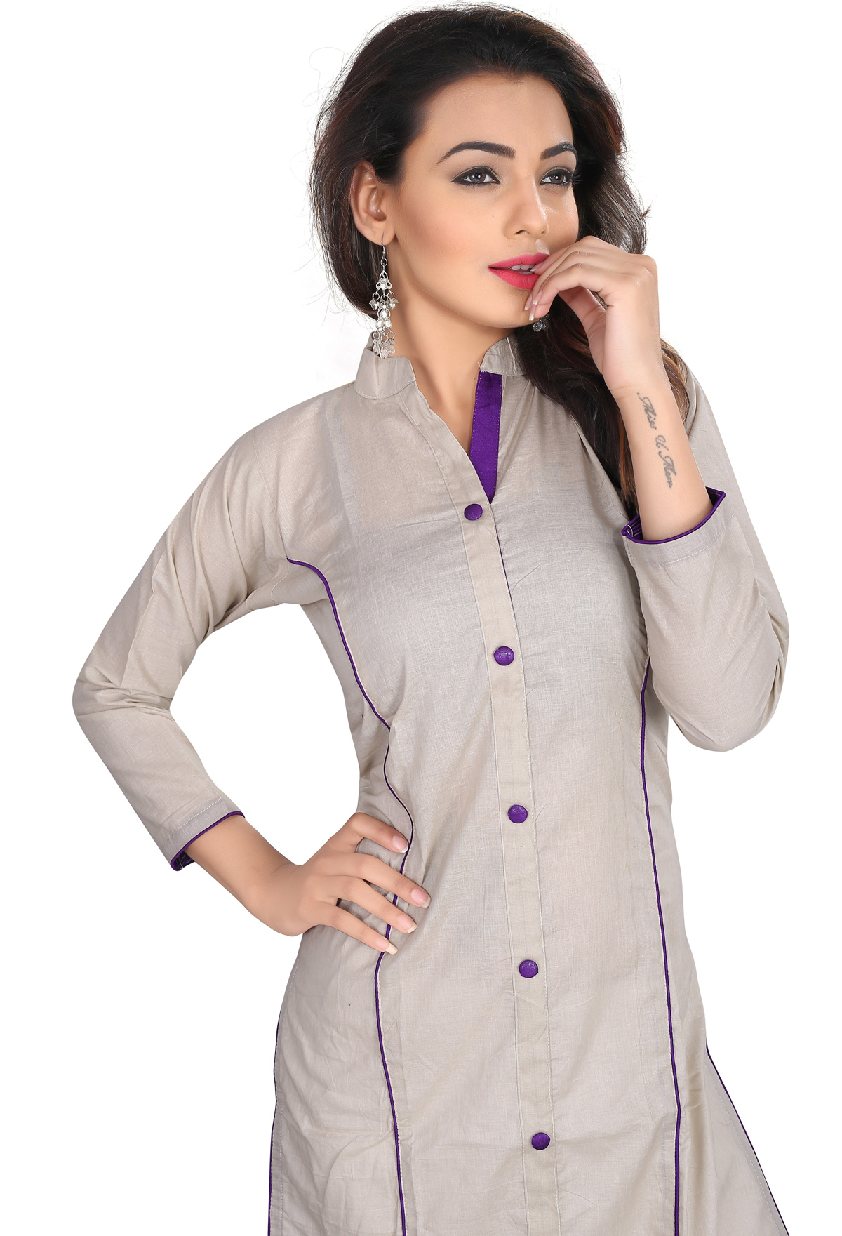 Off-White Colored Casual Cotton Kurti
