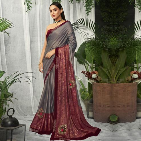 Triveni - Grey & Red Color Lycra Party Wear Saree With Blouse Piece