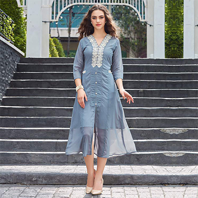 Grey Embroidered Work Georgette Kurti