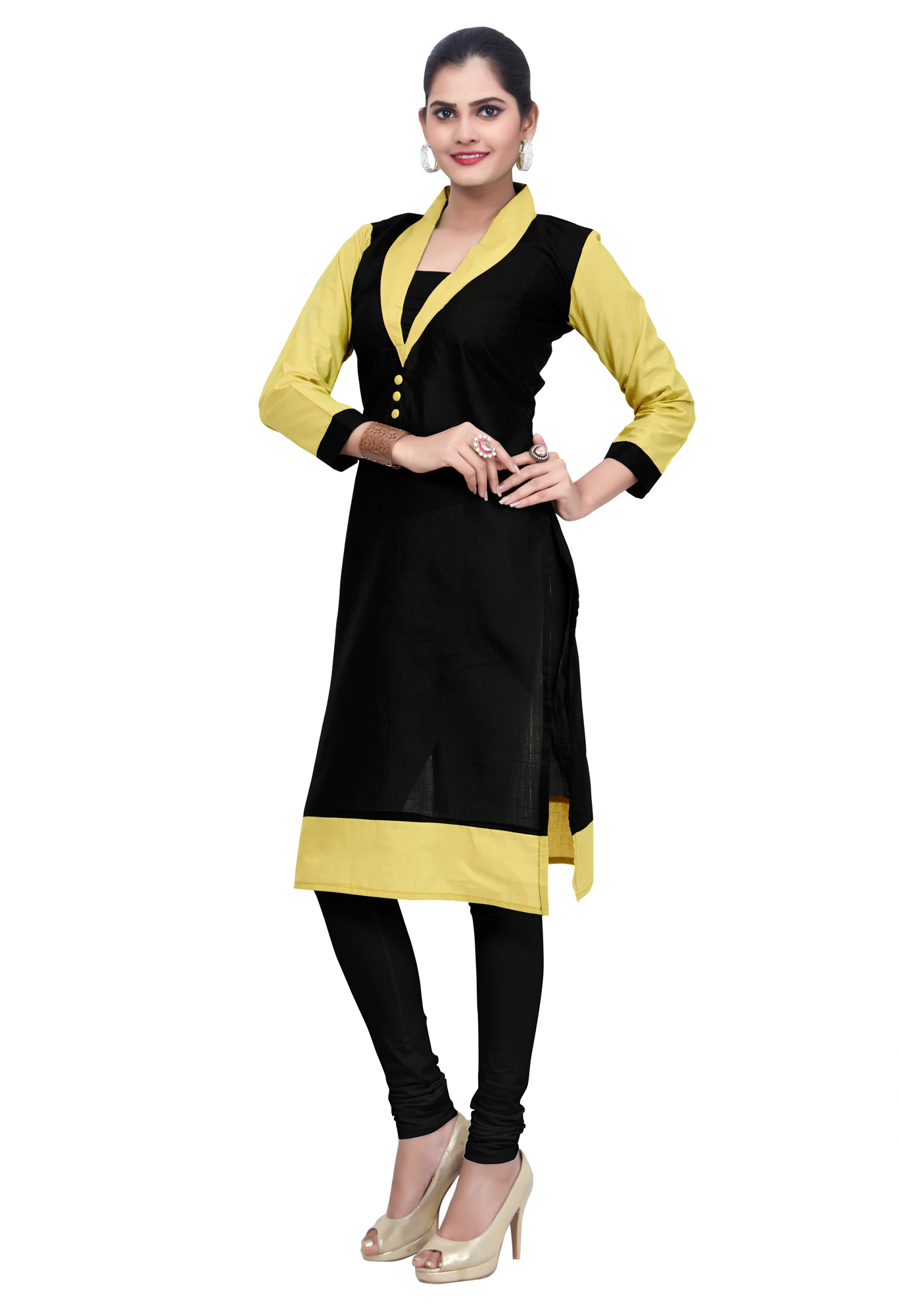 Black-Yellow Colored Casual Cotton Kurti