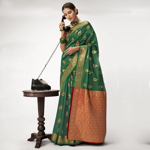 Triveni - Green Color Jacquard Silk Party Wear Saree With Blouse Piece
