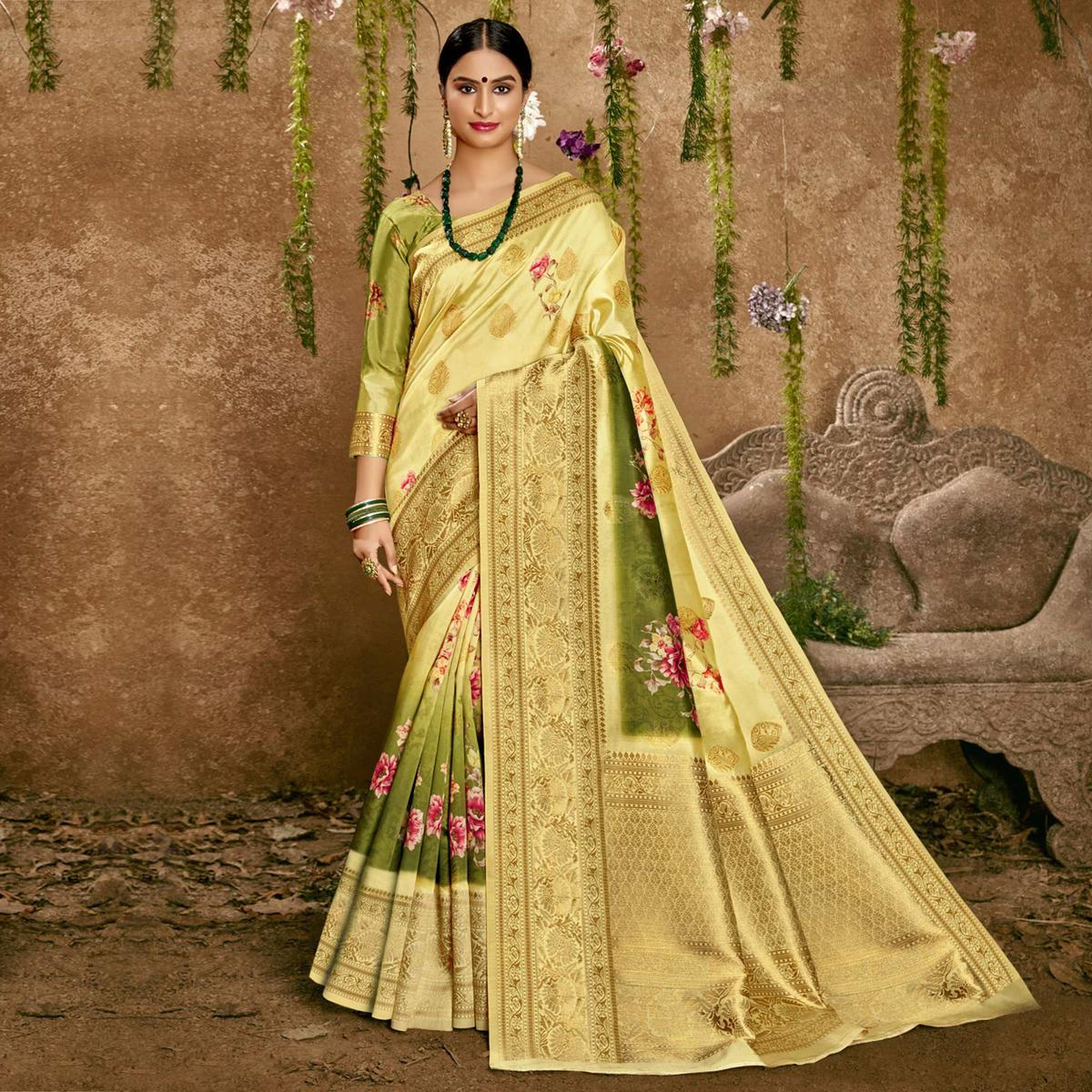Triveni - Yellow & Green Color Art Silk Party Wear Saree With Blouse Piece