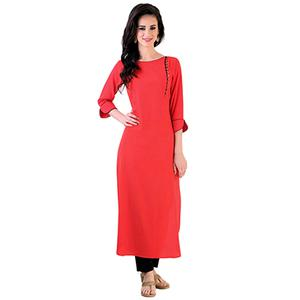 Fuschia Pink Colored Casual Rayon Kurti