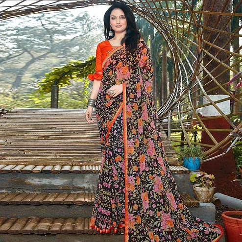 Gleaming Black Colored Casual Wear Floral Printed Chiffon Saree