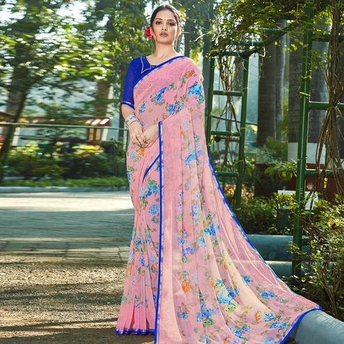 Magnetic Pink Colored Casual Wear Floral Printed Chiffon Saree