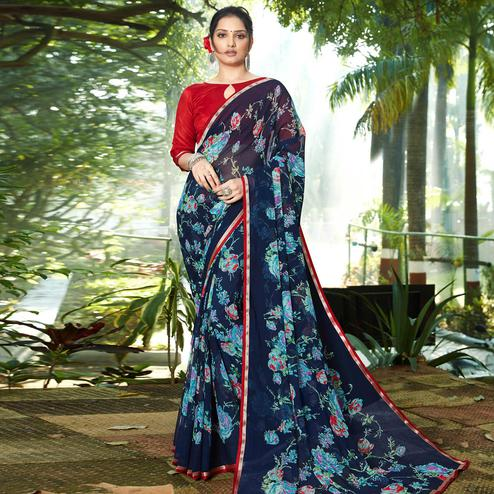 Hypnotic Navy Blue Colored Casual Wear Floral Printed Chiffon Saree