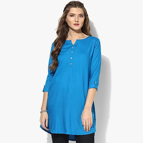 Sky Blue Colored Casual Short Kurti