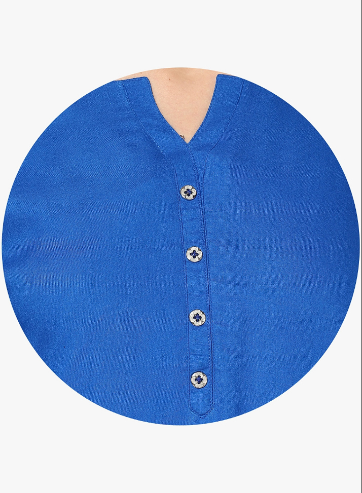Royal Blue Colored Casual Short Kurti