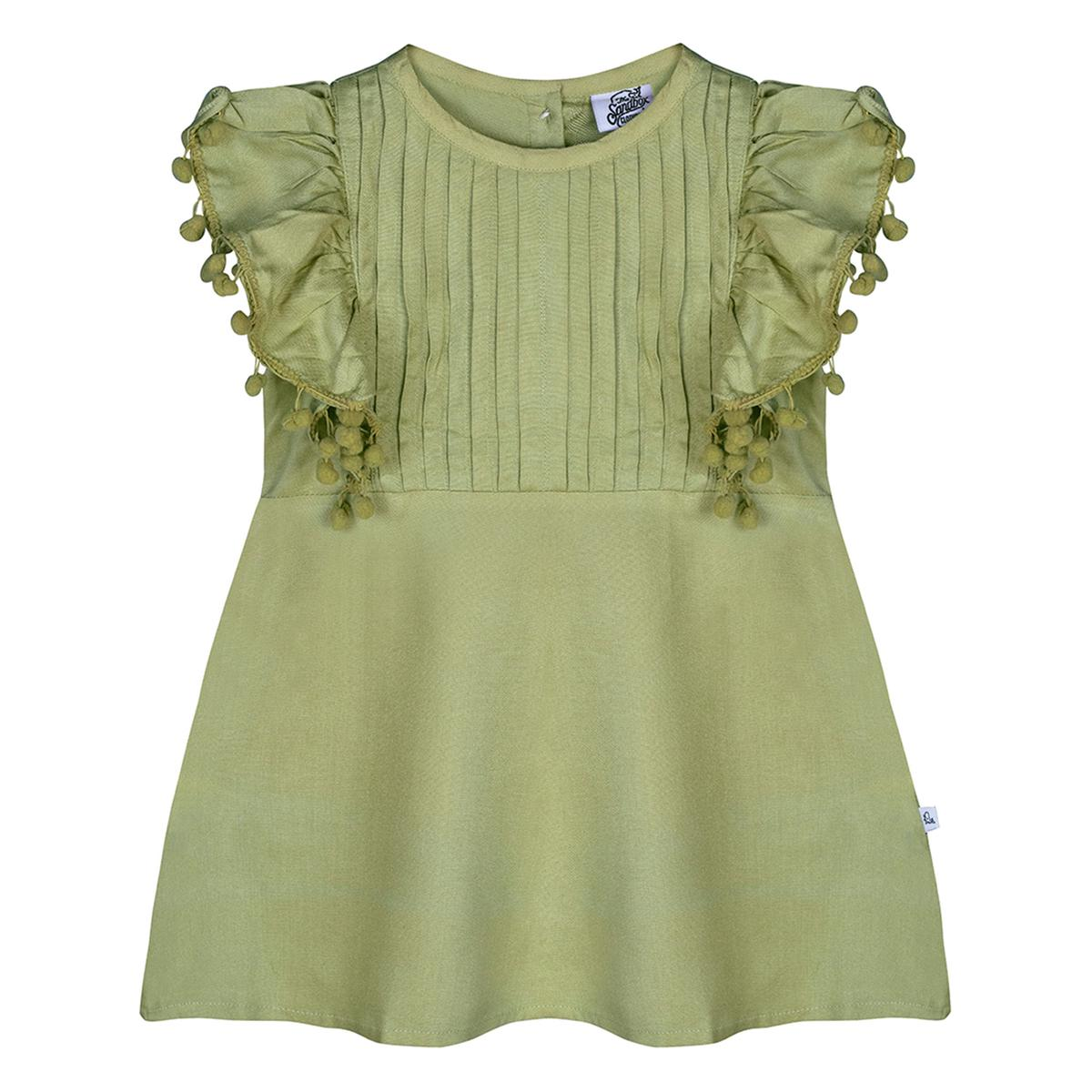 Sandbox - Green Colored Casual Cotton Frock