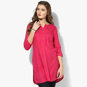 Fuschia Pink Colored Casual Short Kurti