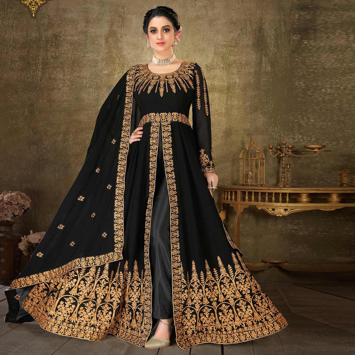 Jazzy Black Colored Embroidery Daimond Work Partywear Heavy Booming Georgette Salwar Suit