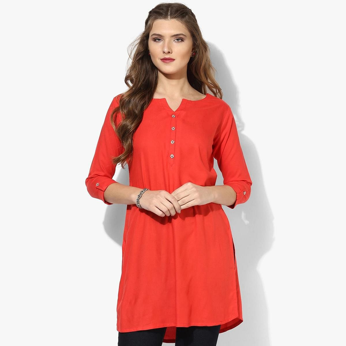 Orange Colored Casual Short Kurti