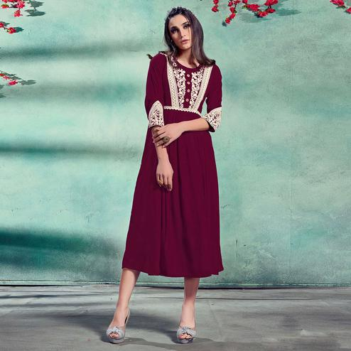 Captivating Dark Scarlet Colored Partywear Lucknowi Embroidered Pure Rayon Fancy Kurti