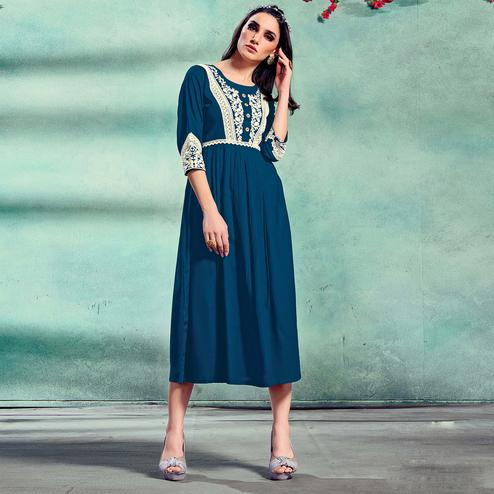 Innovative Prussian blue Colored Partywear Lucknowi Embroidered Pure Rayon Fancy Kurti