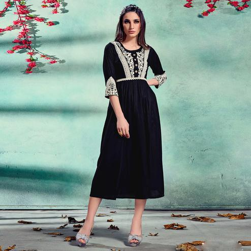 Eye-catching Black Colored Partywear Lucknowi Embroidered Pure Rayon Fancy Kurti