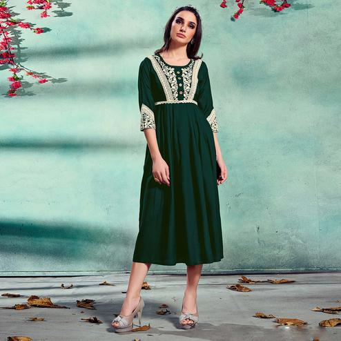 Fantastic Green Colored Partywear Lucknowi Embroidered Pure Rayon Fancy Kurti