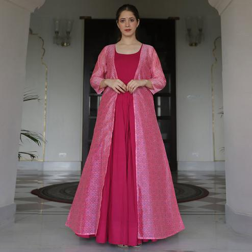 Majesty Pink Colored Partywear Designer Digital Printed Maslin Gown