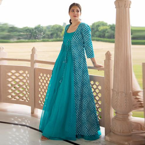 Impressive Sky Blue Colored Partywear Designer Digital Printed Pure Georgette Gown