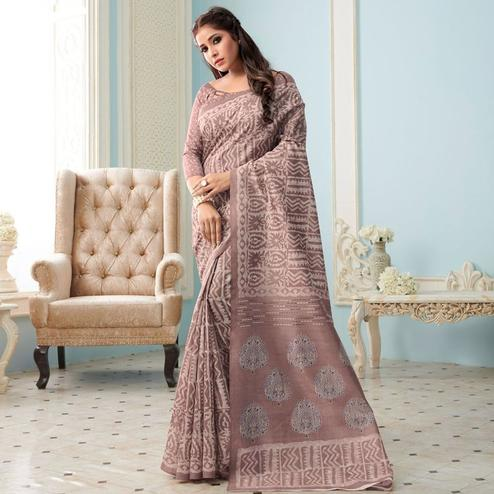 Sareemall Brown Casual Bhagalpuri Printed Saree With Unstitched Blouse