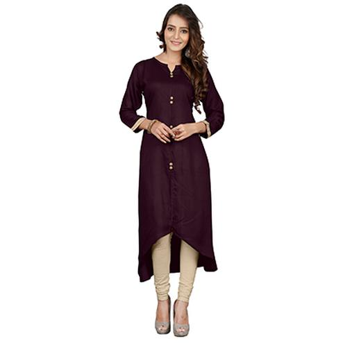 Brown Colored Casual Rayon Kurti