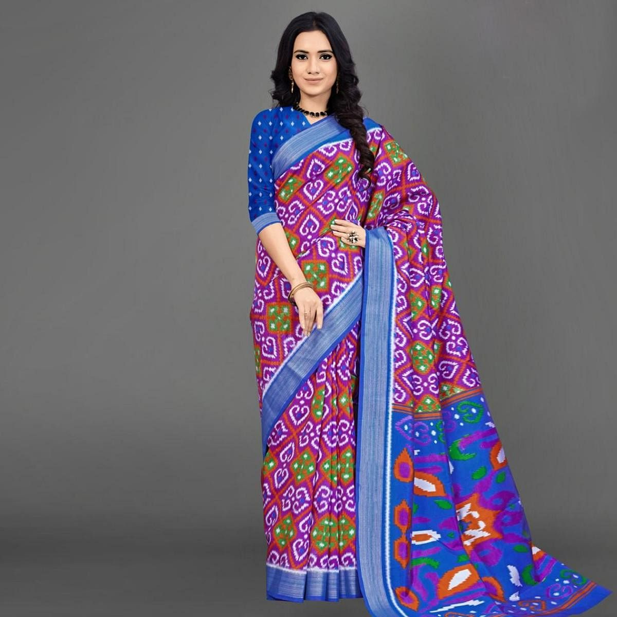 Sareemall Blue Casual Silk Blend Printed Saree With Unstitched Blouse