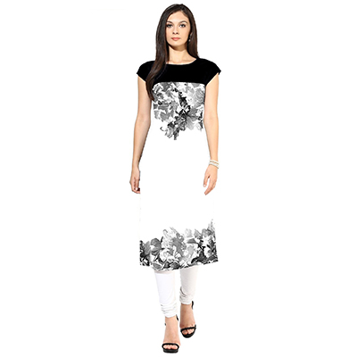 White-Black Colored Casual Printed Kurti