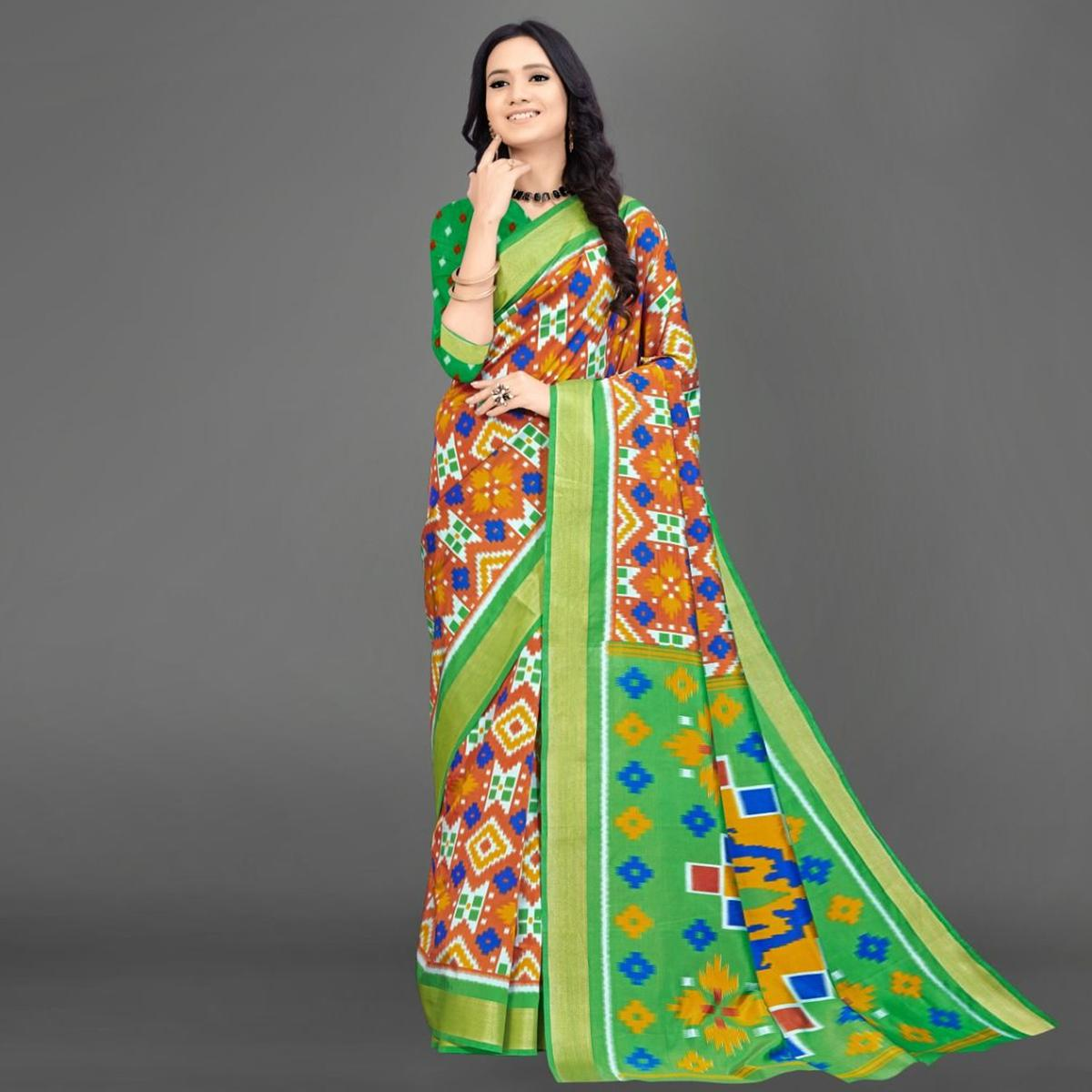 Sareemall Orange Casual Silk Blend Printed Saree With Unstitched Blouse