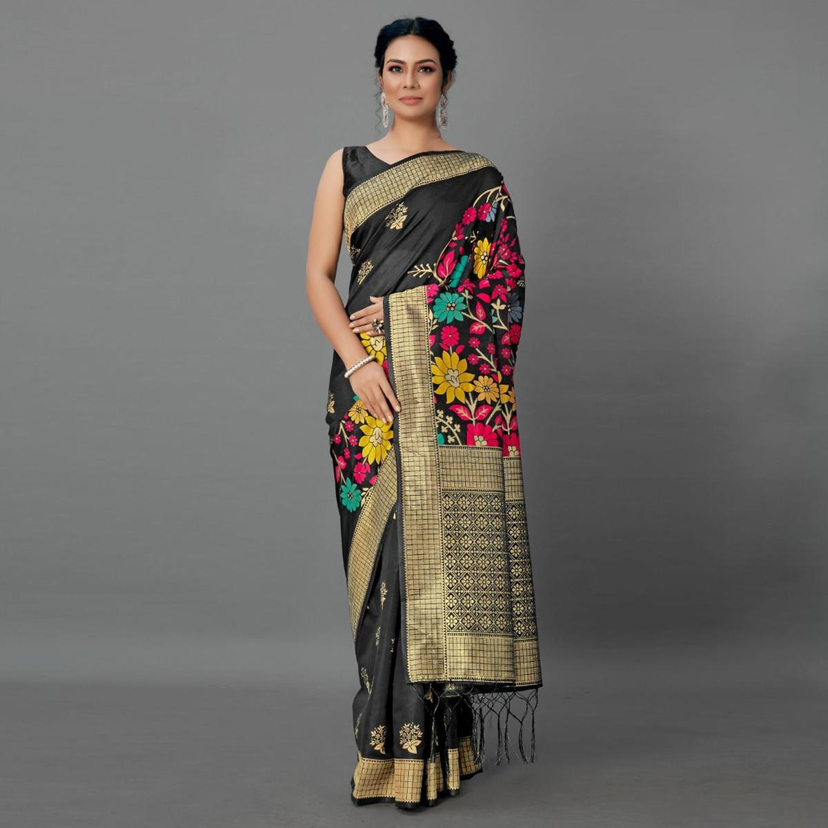 Sareemall Black Casual Silk Blend Printed Saree With Unstitched Blouse