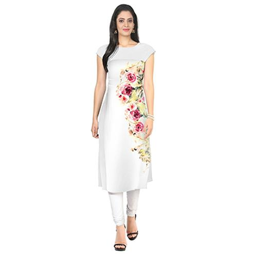 White Colored Casual Floral Printed Kurti