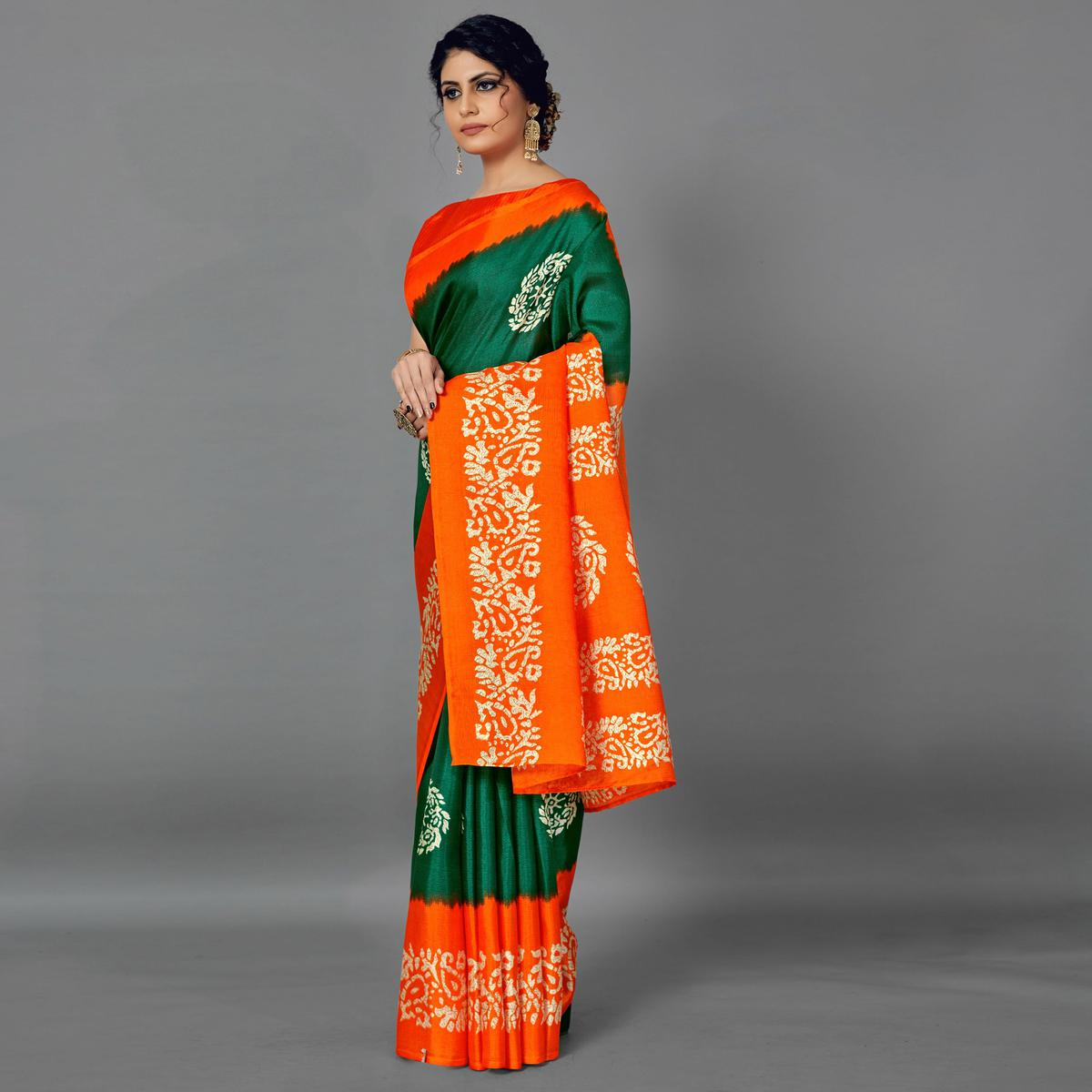 Sareemall Green Casual Art Silk Printed Saree With Unstitched Blouse