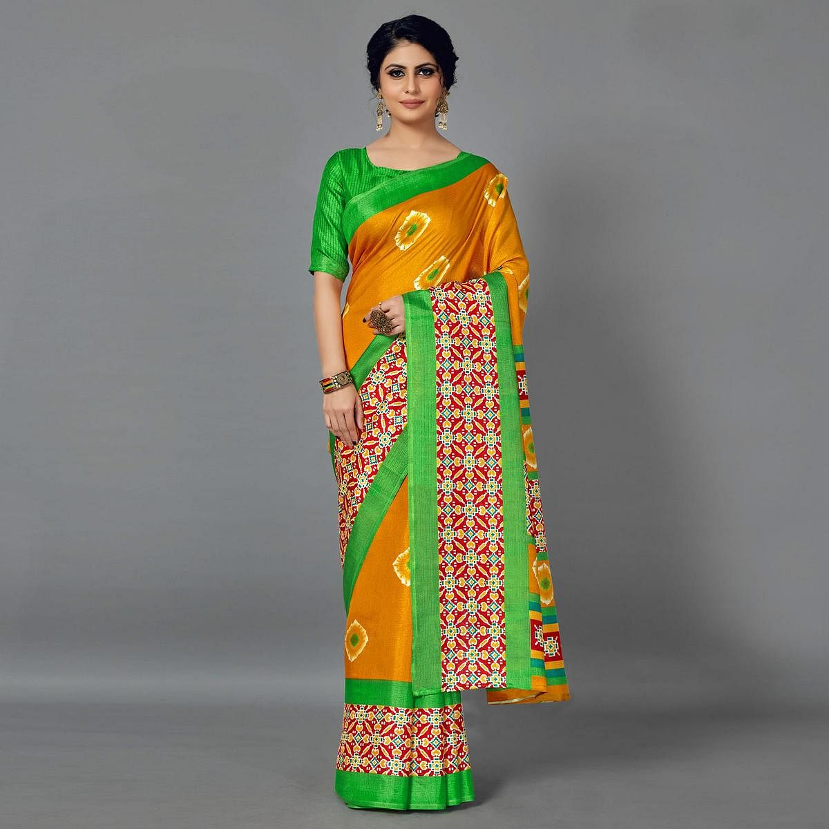 Sareemall Mustard Casual Art Silk Printed Saree With Unstitched Blouse