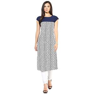 Navy Blue Colored Casual Printed Kurti