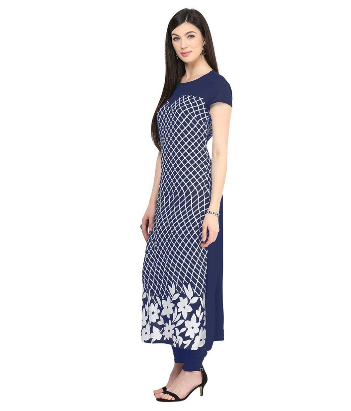 Navy Blue Colored Casual Floral Printed Kurti