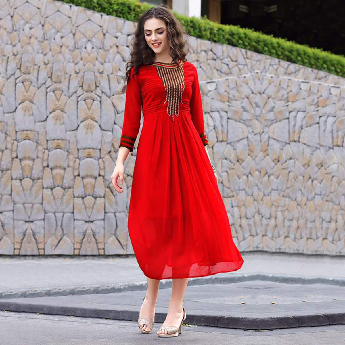 Red Party Wear Designer Kurti