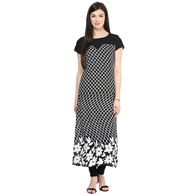 Black Colored Casual Floral Printed Kurti