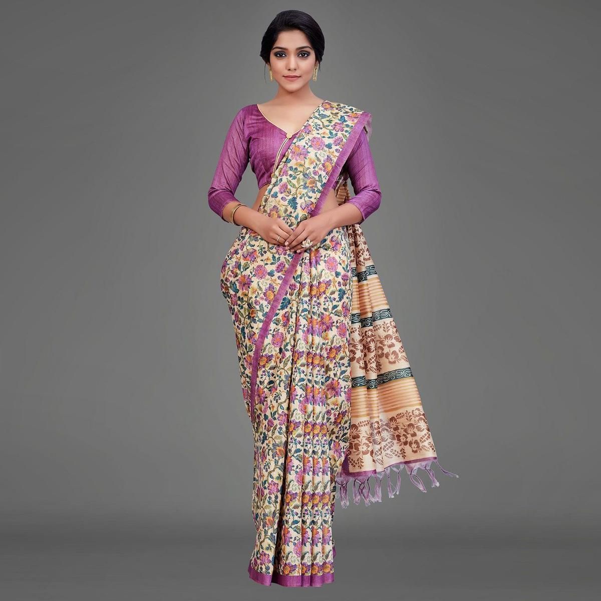 Sareemall Beige Casual Art Silk Printed Saree With Unstitched Blouse