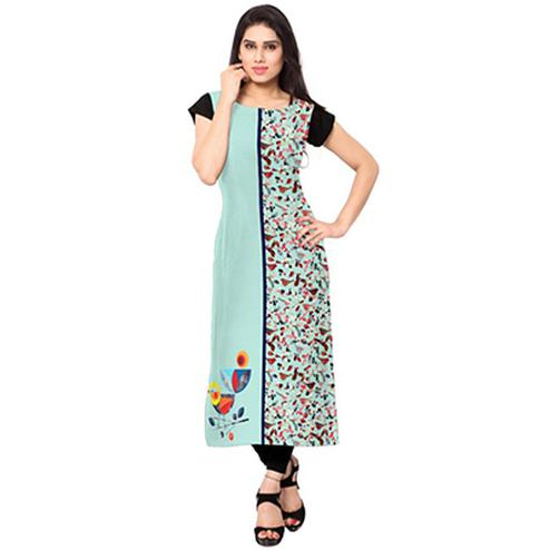 Aqua Blue Colored Casual Crepe Printed Kurti